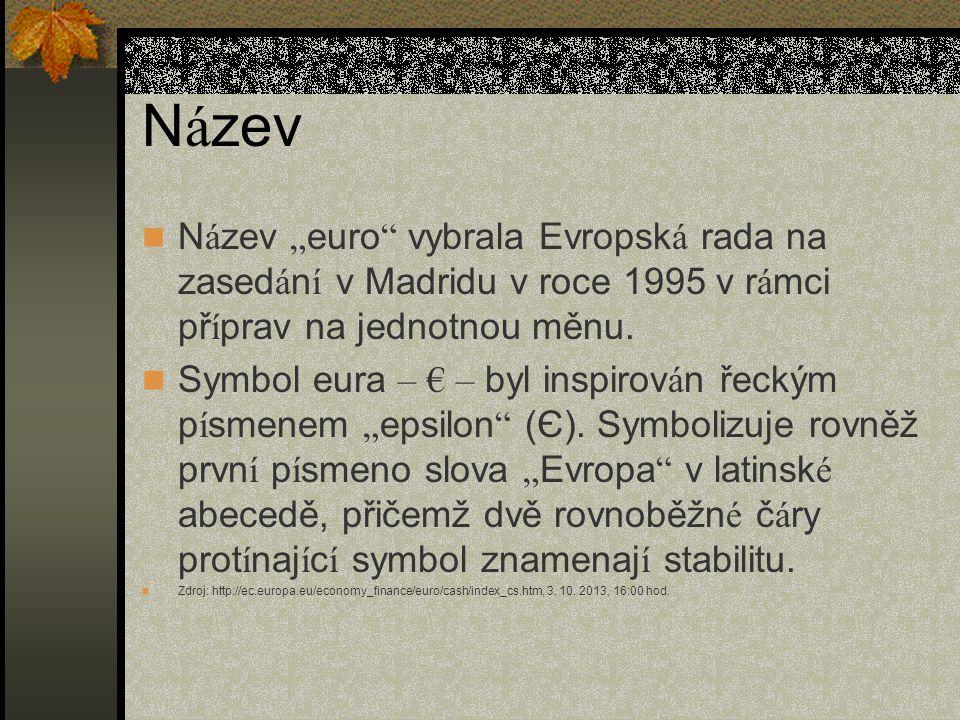 "N á zev  N á zev "" euro "" vybrala Evropsk á rada na zased á n í v Madridu v roce 1995 v r á mci př í prav na jednotnou měnu.  Symbol eura – € – byl"