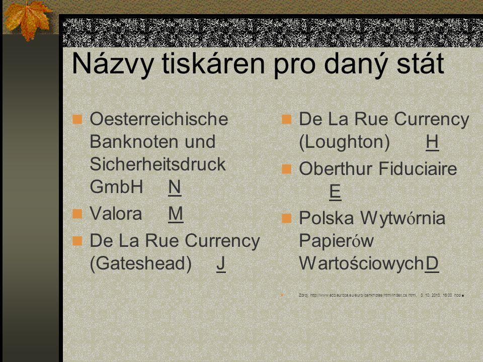 Názvy tiskáren pro daný stát  Oesterreichische Banknoten und Sicherheitsdruck GmbHN  ValoraM  De La Rue Currency (Gateshead)J  De La Rue Currency