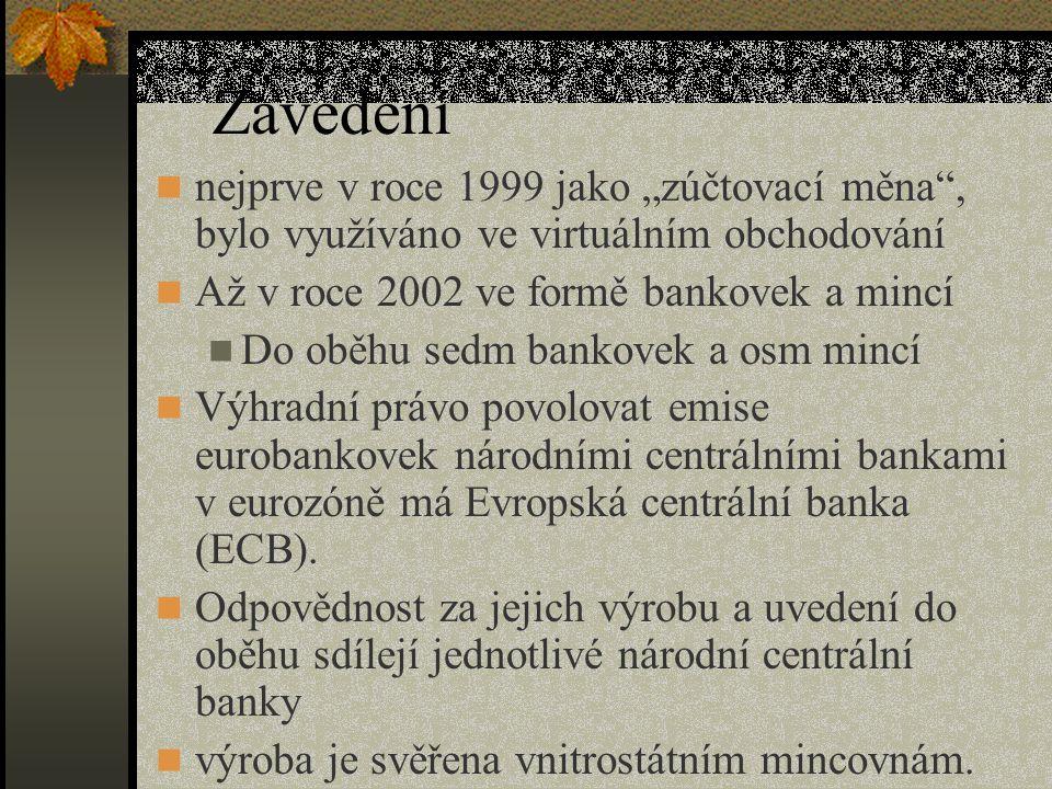 """Zavedení  nejprve v roce 1999 jako """"zúčtovací měna , bylo využíváno ve virtuálním obchodování  Až v roce 2002 ve formě bankovek a mincí  Do oběhu sedm bankovek a osm mincí  Výhradní právo povolovat emise eurobankovek národními centrálními bankami v eurozóně má Evropská centrální banka (ECB)."""