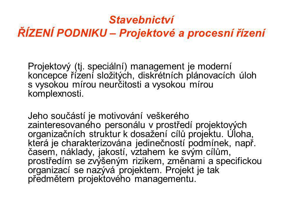 Stavebnictví ŘÍZENÍ PODNIKU – Projektové a procesní řízení Projektový (tj.