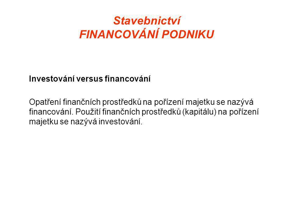 Stavebnictví FINANCOVÁNÍ PODNIKU Investování versus financování Opatření finančních prostředků na pořízení majetku se nazývá financování.