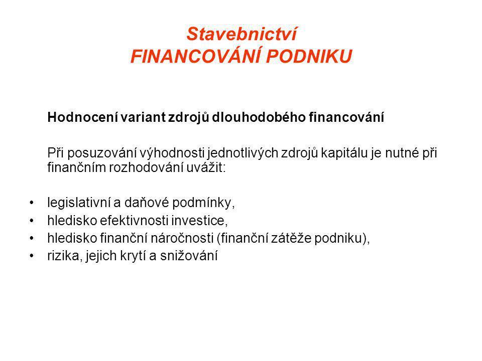 Stavebnictví FINANCOVÁNÍ PODNIKU Hodnocení variant zdrojů dlouhodobého financování Při posuzování výhodnosti jednotlivých zdrojů kapitálu je nutné při finančním rozhodování uvážit: •legislativní a daňové podmínky, •hledisko efektivnosti investice, •hledisko finanční náročnosti (finanční zátěže podniku), •rizika, jejich krytí a snižování