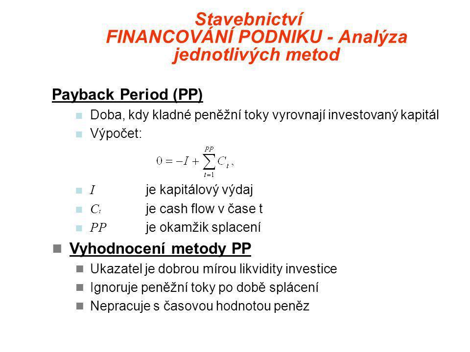 Stavebnictví FINANCOVÁNÍ PODNIKU - Analýza jednotlivých metod Payback Period (PP)  Doba, kdy kladné peněžní toky vyrovnají investovaný kapitál  Výpočet:  I je kapitálový výdaj  C t je cash flow v čase t  PP je okamžik splacení  Vyhodnocení metody PP  Ukazatel je dobrou mírou likvidity investice  Ignoruje peněžní toky po době splácení  Nepracuje s časovou hodnotou peněz