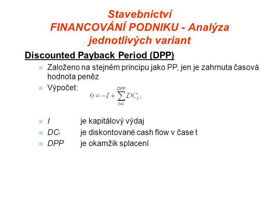 Stavebnictví FINANCOVÁNÍ PODNIKU - Analýza jednotlivých variant Discounted Payback Period (DPP)  Založeno na stejném principu jako PP, jen je zahrnuta časová hodnota peněz  Výpočet:  Ije kapitálový výdaj  DC t je diskontované cash flow v čase t  DPPje okamžik splacení