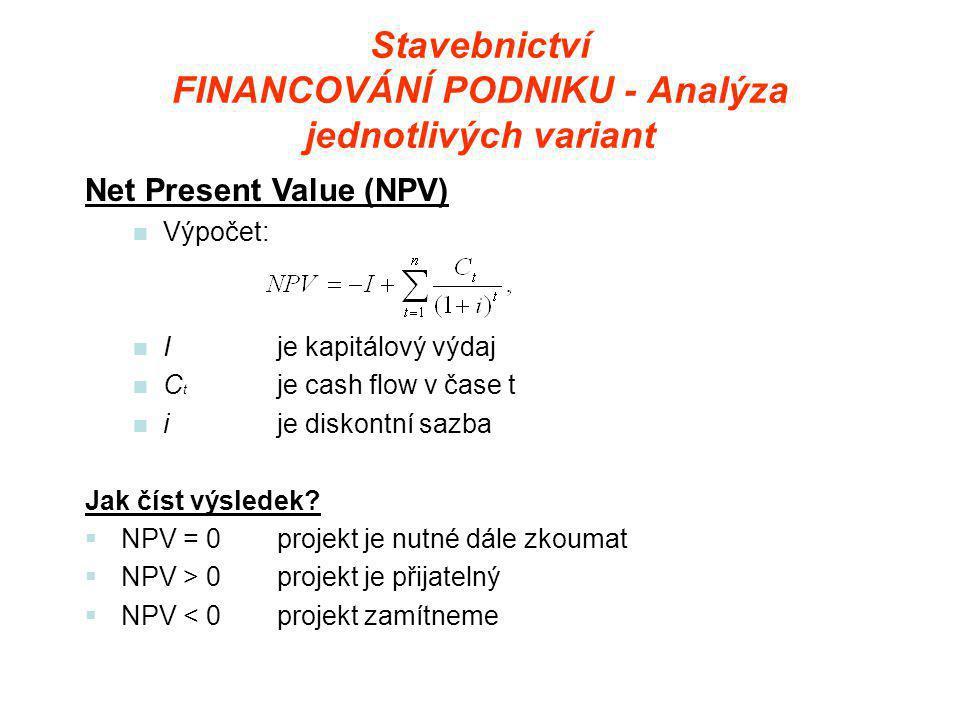 Stavebnictví FINANCOVÁNÍ PODNIKU - Analýza jednotlivých variant Net Present Value (NPV)  Výpočet:  Ije kapitálový výdaj  C t je cash flow v čase t  ije diskontní sazba Jak číst výsledek.