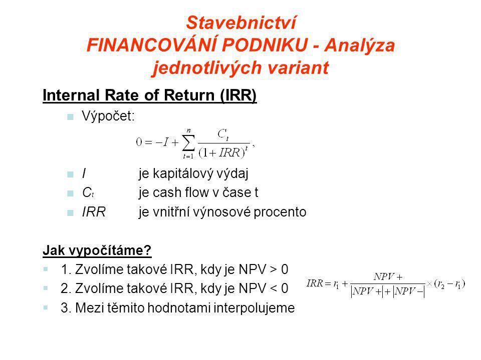 Stavebnictví FINANCOVÁNÍ PODNIKU - Analýza jednotlivých variant Internal Rate of Return (IRR)  Výpočet:  Ije kapitálový výdaj  C t je cash flow v čase t  IRRje vnitřní výnosové procento Jak vypočítáme.