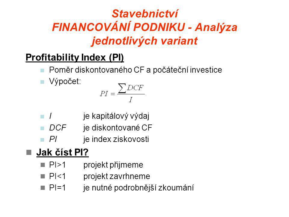 Stavebnictví FINANCOVÁNÍ PODNIKU - Analýza jednotlivých variant Profitability Index (PI)  Poměr diskontovaného CF a počáteční investice  Výpočet:  Ije kapitálový výdaj  DCFje diskontované CF  PIje index ziskovosti  Jak číst PI.