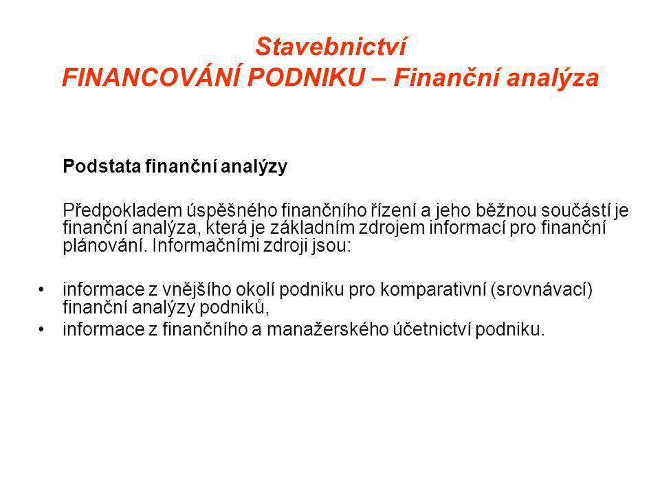 Stavebnictví FINANCOVÁNÍ PODNIKU – Finanční analýza Podstata finanční analýzy Předpokladem úspěšného finančního řízení a jeho běžnou součástí je finanční analýza, která je základním zdrojem informací pro finanční plánování.