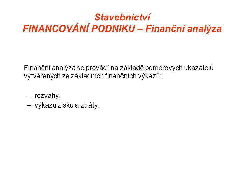 Stavebnictví FINANCOVÁNÍ PODNIKU – Finanční analýza Finanční analýza se provádí na základě poměrových ukazatelů vytvářených ze základních finančních výkazů: –rozvahy, –výkazu zisku a ztráty.