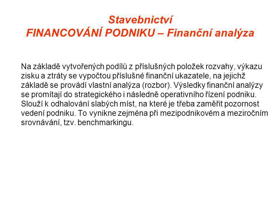 Stavebnictví FINANCOVÁNÍ PODNIKU – Finanční analýza Na základě vytvořených podílů z příslušných položek rozvahy, výkazu zisku a ztráty se vypočtou příslušné finanční ukazatele, na jejichž základě se provádí vlastní analýza (rozbor).