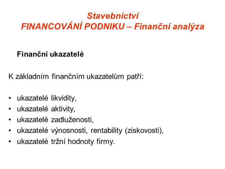 Stavebnictví FINANCOVÁNÍ PODNIKU – Finanční analýza Finanční ukazatelé K základním finančním ukazatelům patří: •ukazatelé likvidity, •ukazatelé aktivity, •ukazatelé zadluženosti, •ukazatelé výnosnosti, rentability (ziskovosti), •ukazatelé tržní hodnoty firmy.