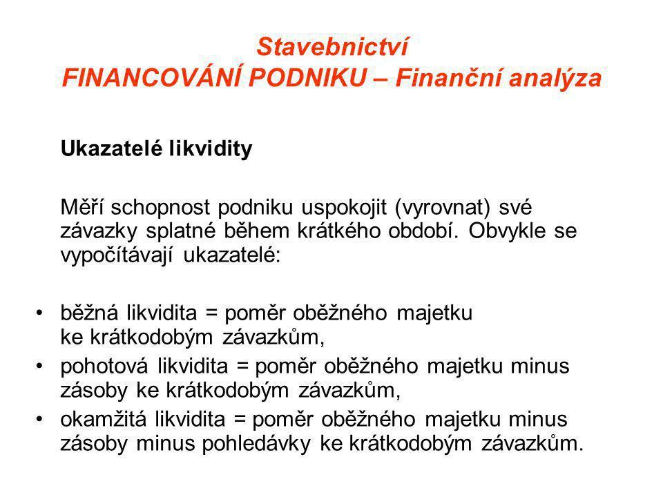 Stavebnictví FINANCOVÁNÍ PODNIKU – Finanční analýza Ukazatelé likvidity Měří schopnost podniku uspokojit (vyrovnat) své závazky splatné během krátkého období.