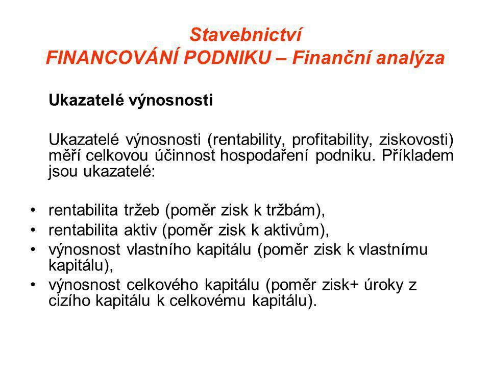 Stavebnictví FINANCOVÁNÍ PODNIKU – Finanční analýza Ukazatelé výnosnosti Ukazatelé výnosnosti (rentability, profitability, ziskovosti) měří celkovou účinnost hospodaření podniku.
