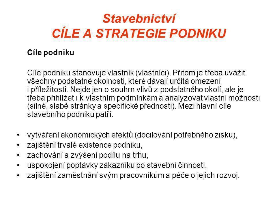 Stavebnictví CÍLE A STRATEGIE PODNIKU Cíle podniku Cíle podniku stanovuje vlastník (vlastníci).