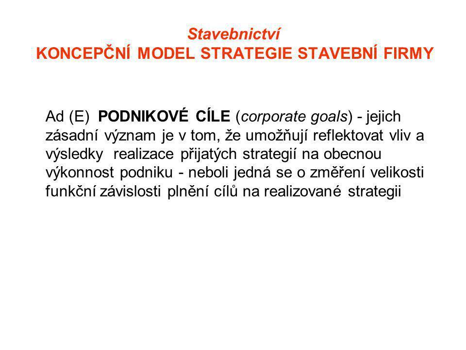 Stavebnictví KONCEPČNÍ MODEL STRATEGIE STAVEBNÍ FIRMY Ad (E) PODNIKOVÉ CÍLE (corporate goals) - jejich zásadní význam je v tom, že umožňují reflektovat vliv a výsledky realizace přijatých strategií na obecnou výkonnost podniku - neboli jedná se o změření velikosti funkční závislosti plnění cílů na realizované strategii