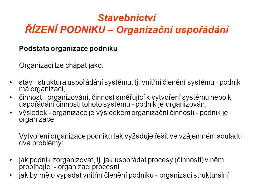 Stavebnictví ŘÍZENÍ PODNIKU – Organizační uspořádání Podstata organizace podniku Organizaci lze chápat jako: •stav - struktura uspořádání systému, tj.