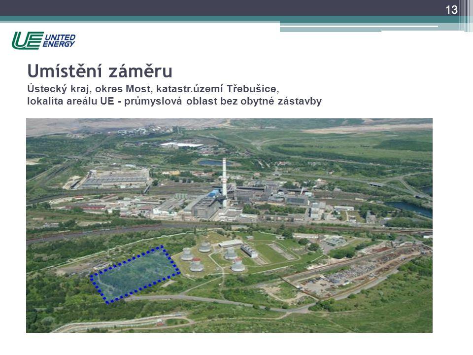 13 Umístění záměru Ústecký kraj, okres Most, katastr.území Třebušice, lokalita areálu UE - průmyslová oblast bez obytné zástavby