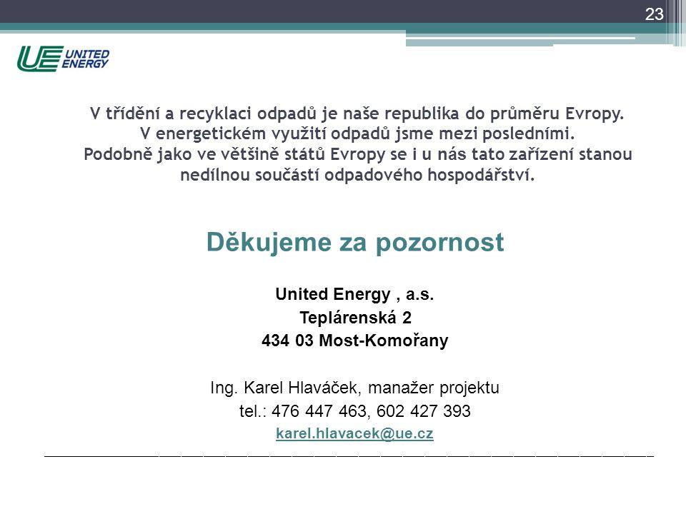 Děkujeme za pozornost United Energy, a.s. Teplárenská 2 434 03 Most-Komořany Ing. Karel Hlaváček, manažer projektu tel.: 476 447 463, 602 427 393 kare