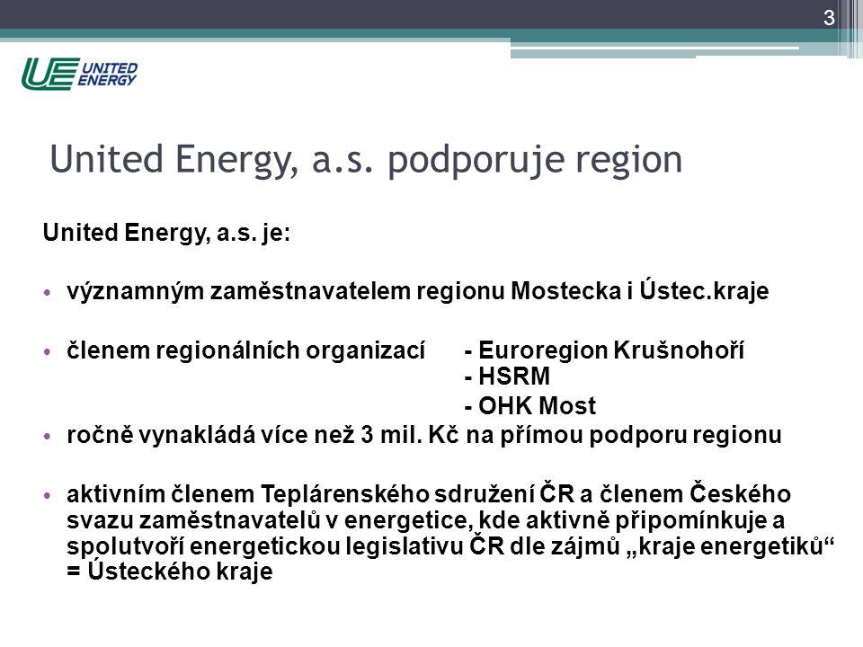 3 United Energy, a.s. podporuje region United Energy, a.s. je: • významným zaměstnavatelem regionu Mostecka i Ústec.kraje • členem regionálních organi