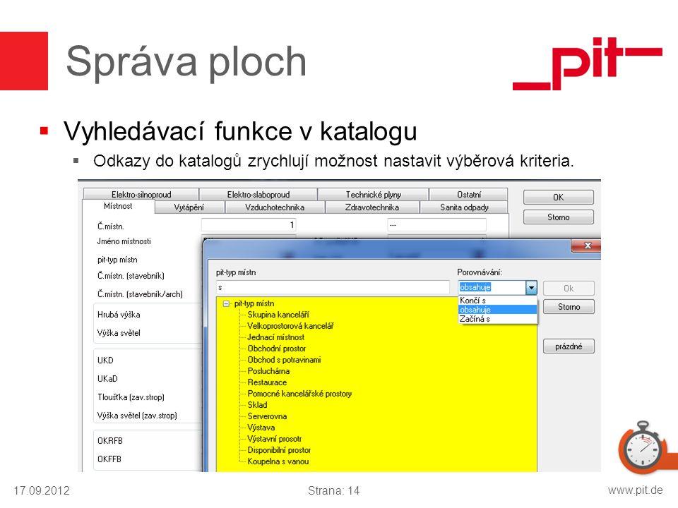 www.pit.de Správa ploch  Vyhledávací funkce v katalogu  Odkazy do katalogů zrychlují možnost nastavit výběrová kriteria. 17.09.2012Strana: 14
