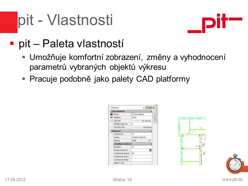 www.pit.de pit - Vlastnosti  pit – Paleta vlastností  Umožňuje komfortní zobrazení, změny a vyhodnocení parametrů vybraných objektů výkresu  Pracuj