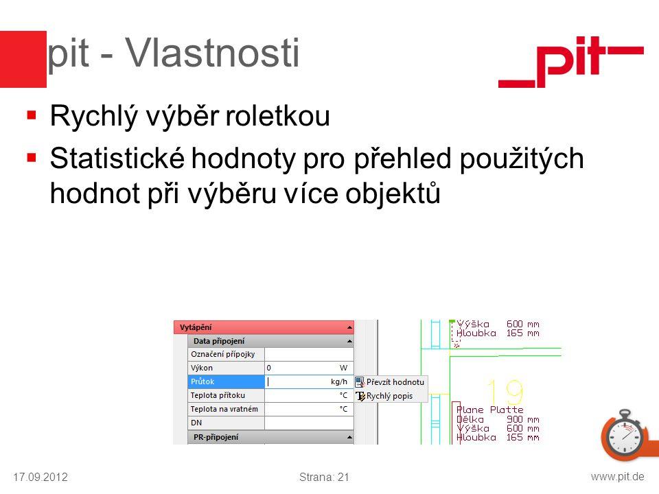 www.pit.de pit - Vlastnosti  Rychlý výběr roletkou  Statistické hodnoty pro přehled použitých hodnot při výběru více objektů 17.09.2012Strana: 21