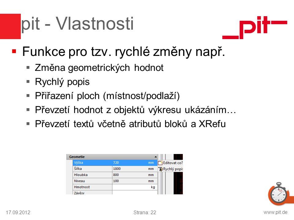 www.pit.de pit - Vlastnosti  Funkce pro tzv. rychlé změny např.  Změna geometrických hodnot  Rychlý popis  Přiřazení ploch (místnost/podlaží)  Př