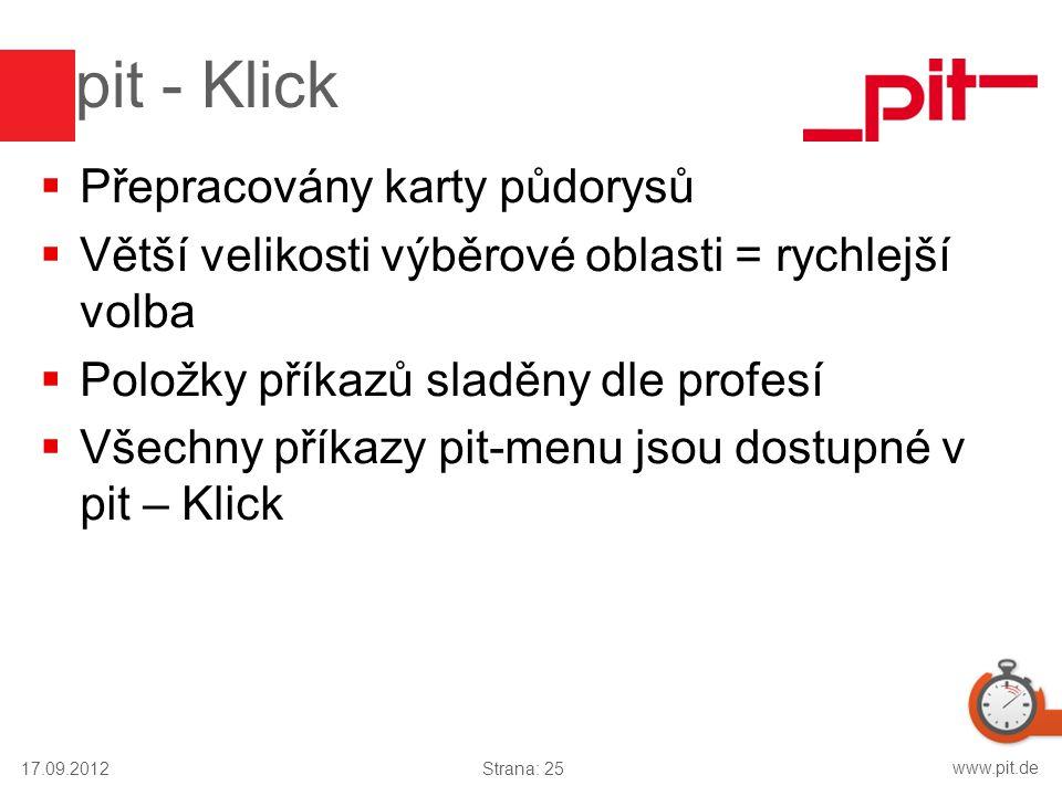 www.pit.de pit - Klick  Přepracovány karty půdorysů  Větší velikosti výběrové oblasti = rychlejší volba  Položky příkazů sladěny dle profesí  Všec