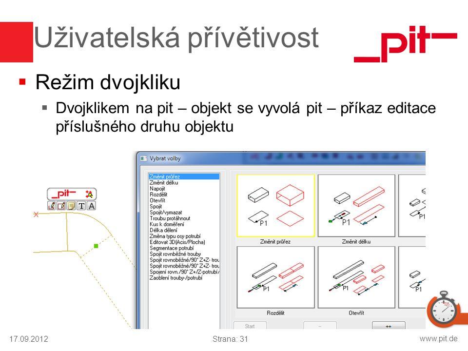 www.pit.de Uživatelská přívětivost  Režim dvojkliku  Dvojklikem na pit – objekt se vyvolá pit – příkaz editace příslušného druhu objektu 17.09.2012S