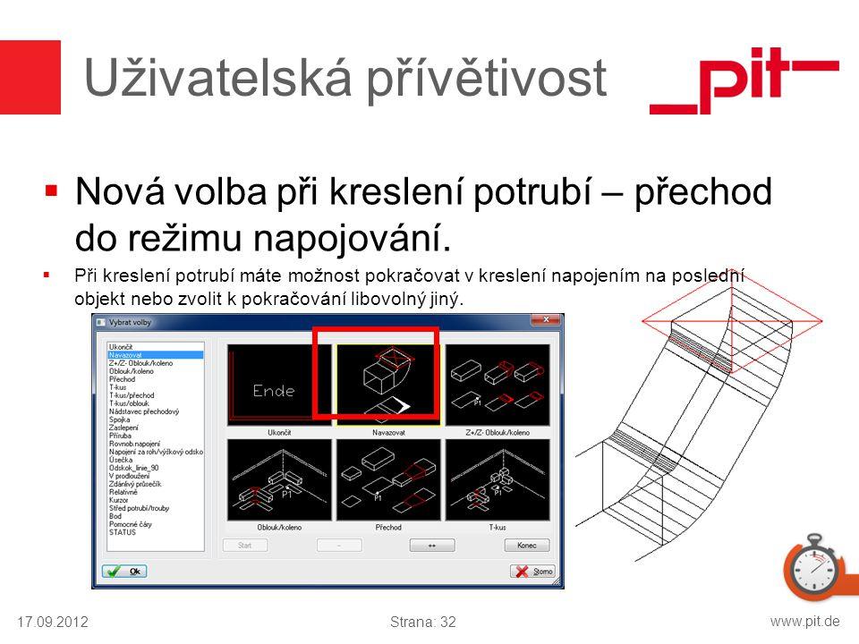 www.pit.de Uživatelská přívětivost  Nová volba při kreslení potrubí – přechod do režimu napojování.  Při kreslení potrubí máte možnost pokračovat v