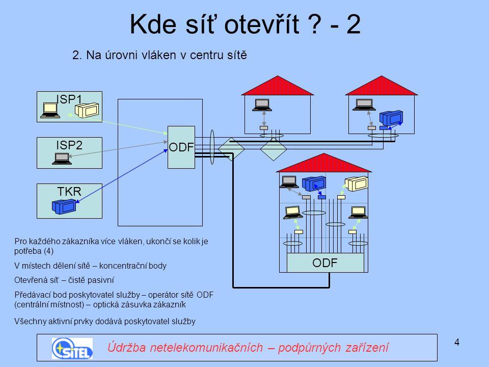 4 ISP1 Kde síť otevřít ? - 2 Údržba netelekomunikačních – podpůrných zařízení ODF 2. Na úrovni vláken v centru sítě ODF ISP2 TKR Pro každého zákazníka