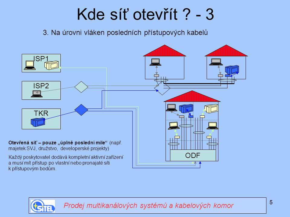 5 ISP1 Kde síť otevřít ? - 3 Prodej multikanálových systémů a kabelových komor 3. Na úrovni vláken posledních přístupových kabelů ODF ISP2 TKR Otevřen