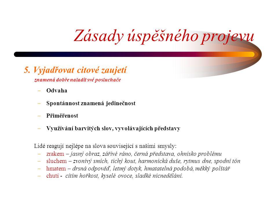 Zásady úspěšného projevu 5.