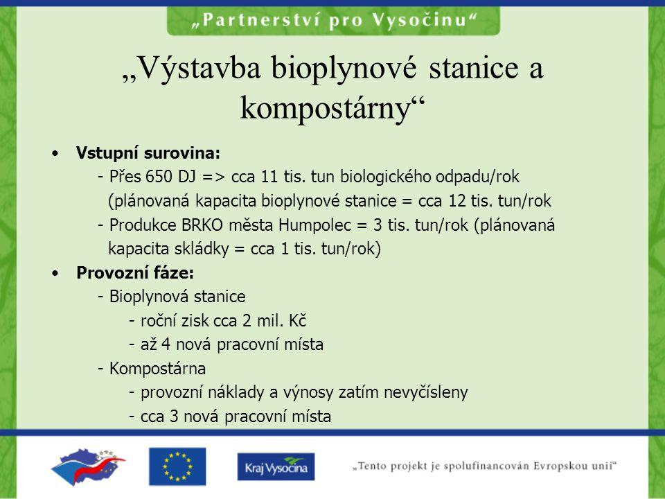 """""""Výstavba bioplynové stanice a kompostárny •Vstupní surovina: - Přes 650 DJ => cca 11 tis."""