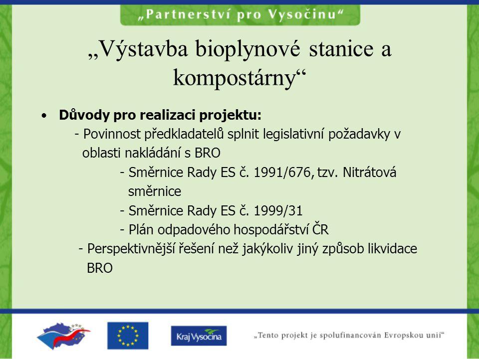 """""""Výstavba bioplynové stanice a kompostárny •Důvody pro realizaci projektu: - Povinnost předkladatelů splnit legislativní požadavky v oblasti nakládání s BRO - Směrnice Rady ES č."""