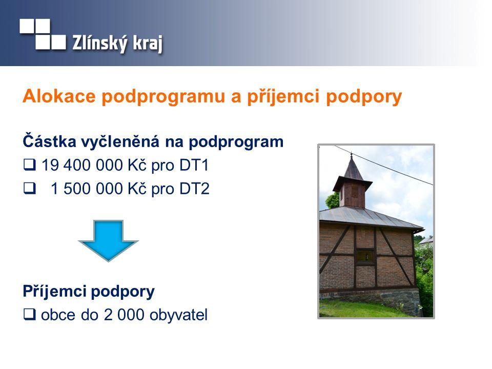 Alokace podprogramu a příjemci podpory Částka vyčleněná na podprogram  19 400 000 Kč pro DT1  1 500 000 Kč pro DT2 Příjemci podpory  obce do 2 000