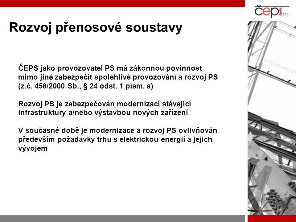 Rozvoj přenosové soustavy ČEPS jako provozovatel PS má zákonnou povinnost mimo jiné zabezpečit spolehlivé provozování a rozvoj PS (z.č. 458/2000 Sb.,