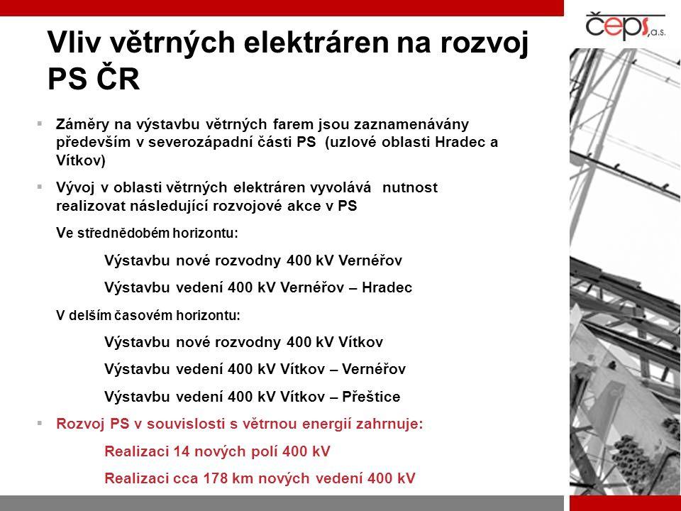 Vliv modernizace a posilování zdrojové základny na rozvoj PS ČR  Posílení a modernizace zdrojů je plánována především v severozápadní části PS (uzlová oblasti Výškov a Chotějovice)  Očekávaný vývoj v oblasti tepelných elektráren vyvolává nutnost realizovat následující rozvojové akce v PS Ve střednědobém horizontu: Výstavbu nové rozvodny 400 kV Chotějovice Výstavbu nového vedení 400 kV Chotějovice – Výškov V delším časovém horizontu: Zdvojení stávajícího vedení 400 kV Výškov – Čechy Střed (variantně vedení Výškov – Řeporyje) Zdvojení stávajícího vedení 400 kV Babylon - Bezděčín Zdvojení stávajícího vedení 400 kV Výškov – Babylon  Rozvoj PS v souvislosti s modernizací a posílením tepelných zdrojů zahrnuje: Realizaci 20 nových polí 400 kV Realizaci cca 225 km nových dvojitých vedení 400 kV