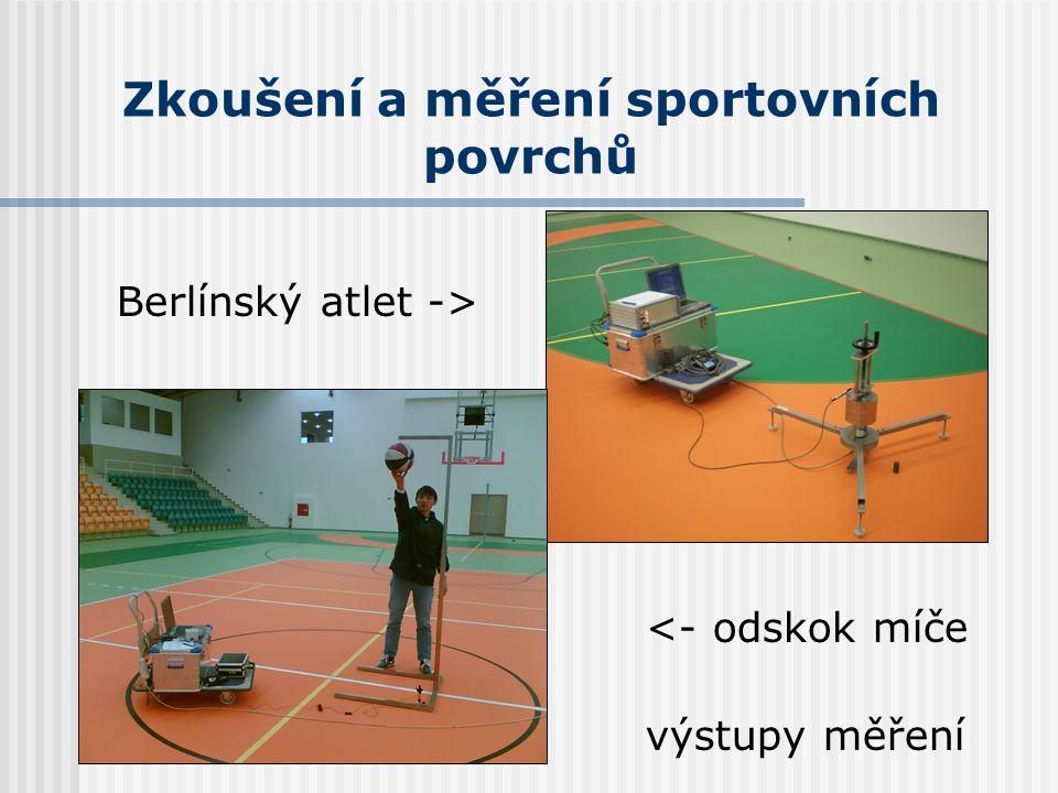 Zkoušení a měření sportovních povrchů Berlínský atlet -> <- odskok míče výstupy měření