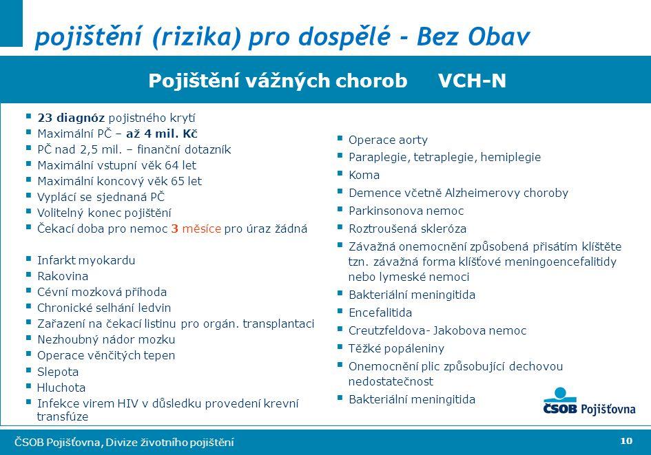 10 ČSOB Pojišťovna, Divize životního pojištění Pojištění vážných chorob VCH-N  23 diagnóz pojistného krytí  Maximální PČ – až 4 mil.