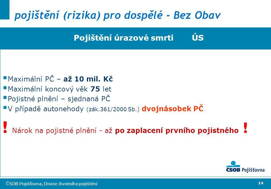 14 ČSOB Pojišťovna, Divize životního pojištění pojištění (rizika) pro dospělé - Bez Obav Pojištění úrazové smrti ÚS  Maximální PČ – až 10 mil.