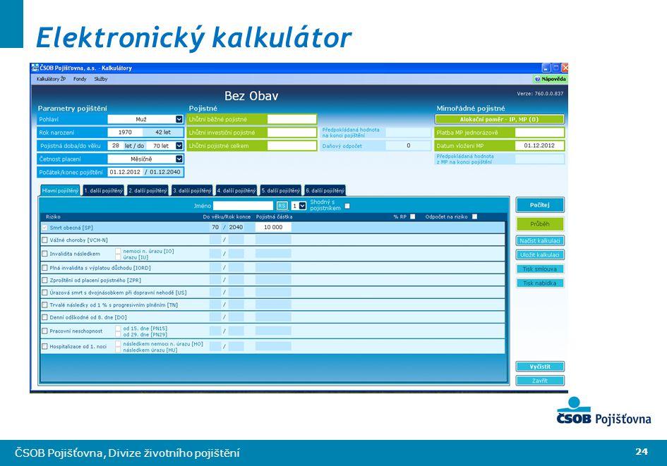 24 ČSOB Pojišťovna, Divize životního pojištění Elektronický kalkulátor