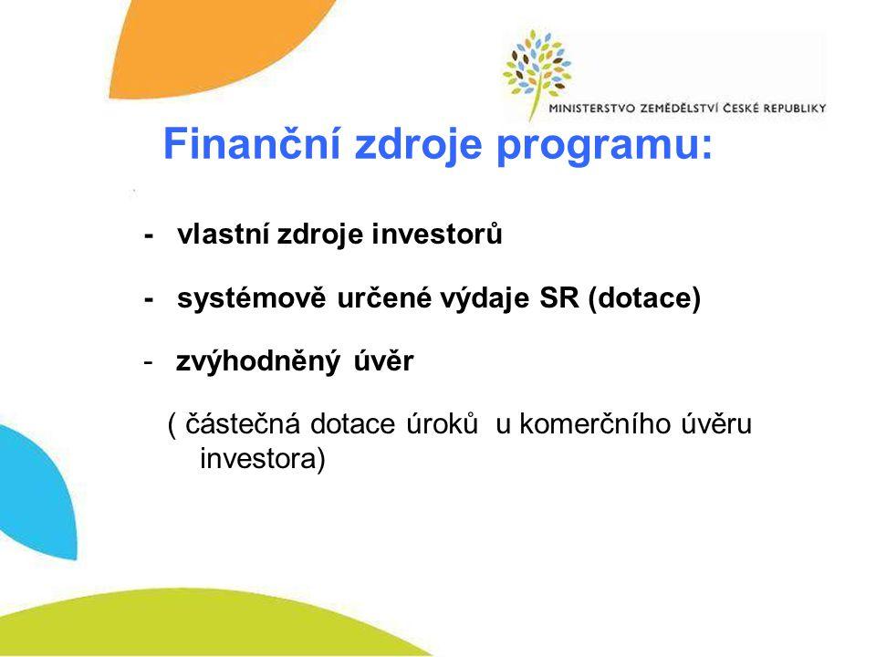 Finanční zdroje programu: - vlastní zdroje investorů - systémově určené výdaje SR (dotace) -zvýhodněný úvěr ( částečná dotace úroků u komerčního úvěru investora)