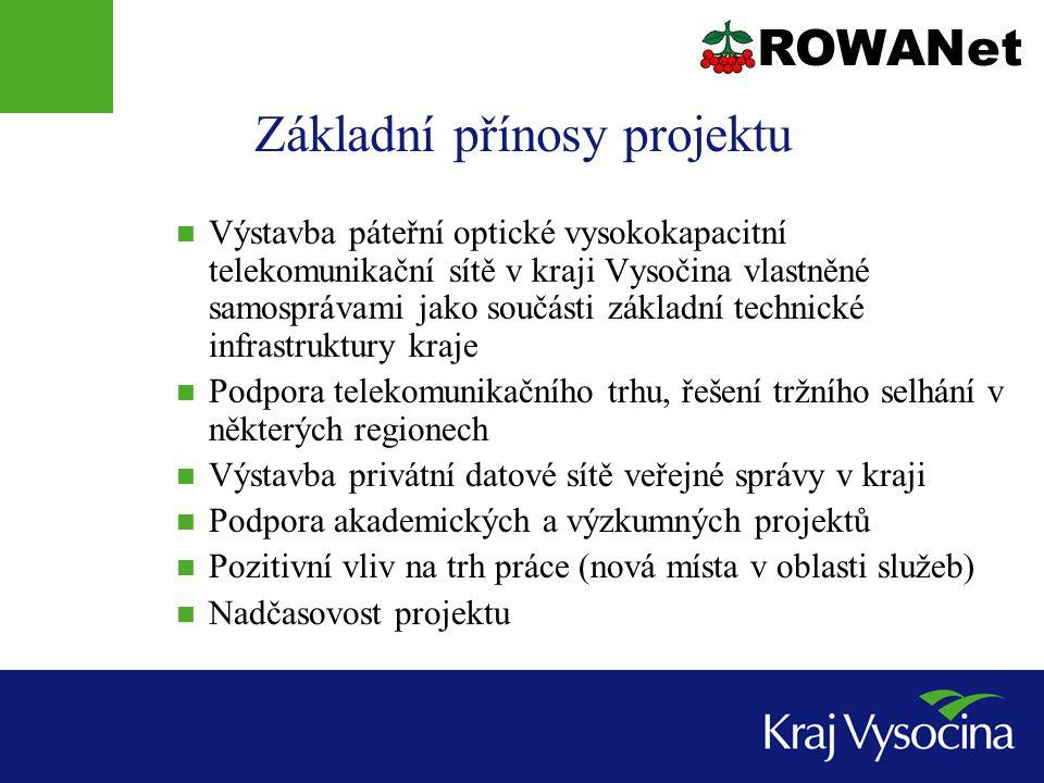 Základní přínosy projektu  Výstavba páteřní optické vysokokapacitní telekomunikační sítě v kraji Vysočina vlastněné samosprávami jako součásti základní technické infrastruktury kraje  Podpora telekomunikačního trhu, řešení tržního selhání v některých regionech  Výstavba privátní datové sítě veřejné správy v kraji  Podpora akademických a výzkumných projektů  Pozitivní vliv na trh práce (nová místa v oblasti služeb)  Nadčasovost projektu