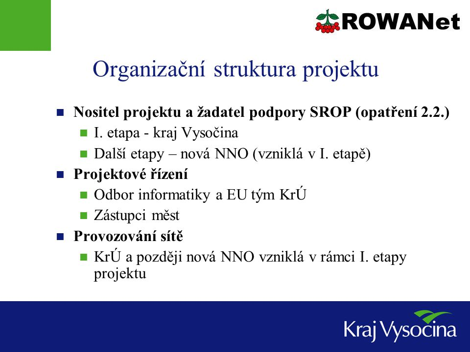 Organizační struktura projektu  Nositel projektu a žadatel podpory SROP (opatření 2.2.)  I.