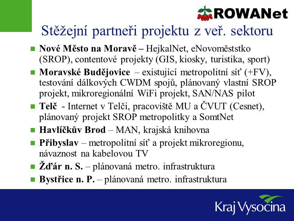 Přínosy pro města a obce  Páteř bude subjektům veřejné správy nabízet vysokokapacitní (1Gb/s) konektivitu ke službám:  Internet – prostřednictvím sítě akademické sítě Cesnet2 (uzel Jihlava, 1Gb/s)  KIVS – komunikační infrastruktura veřejné správy (Český Telecom, univerzální přípojka)  Resortní datové sítě – MPSV, MVČR, GovBone  Dotované poslední míle pro poskytovatele služeb – alternativní hlasoví operátoři, ISP, digitální televize