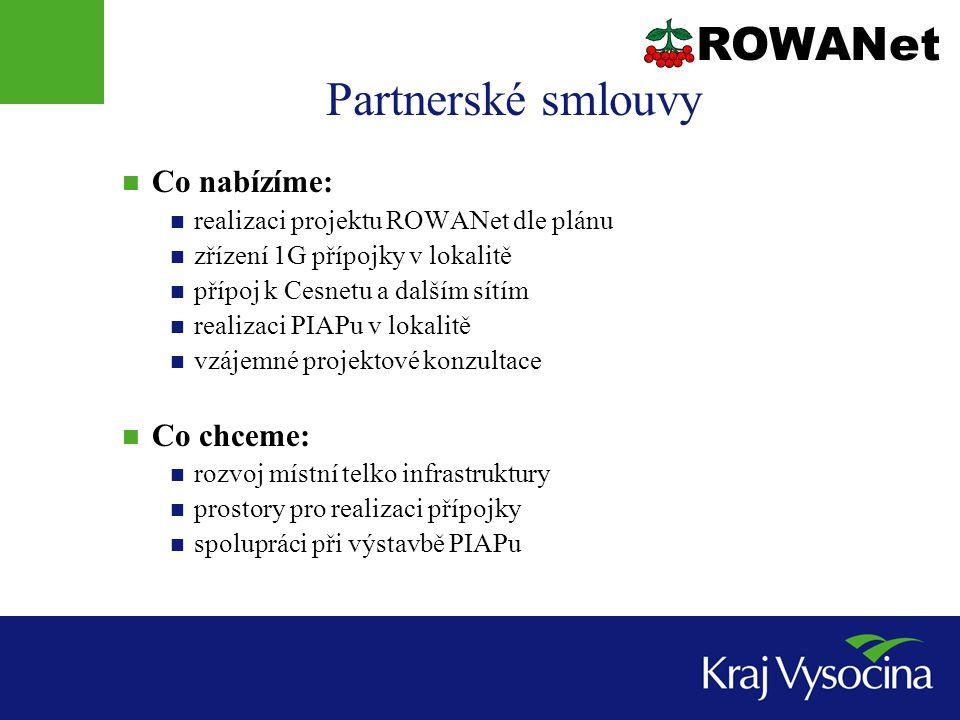 Partnerské smlouvy  Co nabízíme:  realizaci projektu ROWANet dle plánu  zřízení 1G přípojky v lokalitě  přípoj k Cesnetu a dalším sítím  realizaci PIAPu v lokalitě  vzájemné projektové konzultace  Co chceme:  rozvoj místní telko infrastruktury  prostory pro realizaci přípojky  spolupráci při výstavbě PIAPu