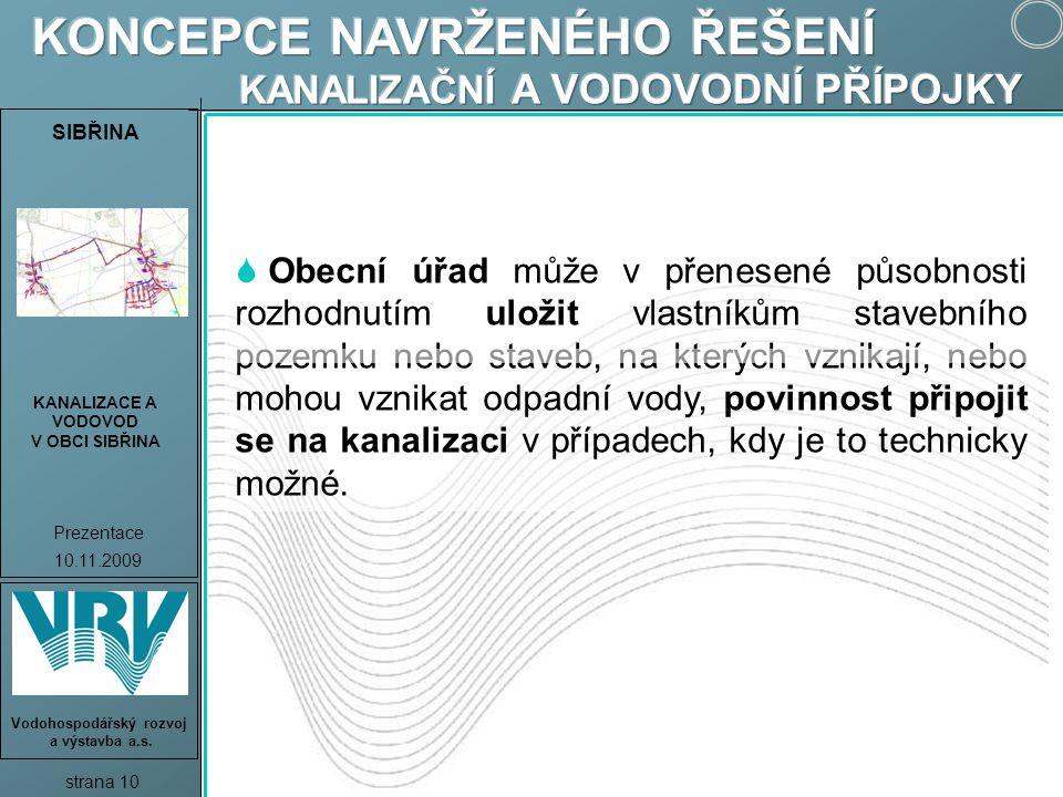SIBŘINA KANALIZACE A VODOVOD V OBCI SIBŘINA Prezentace 10.11.2009 strana 10 Vodohospodářský rozvoj a výstavba a.s.  Obecní úřad může v přenesené půso