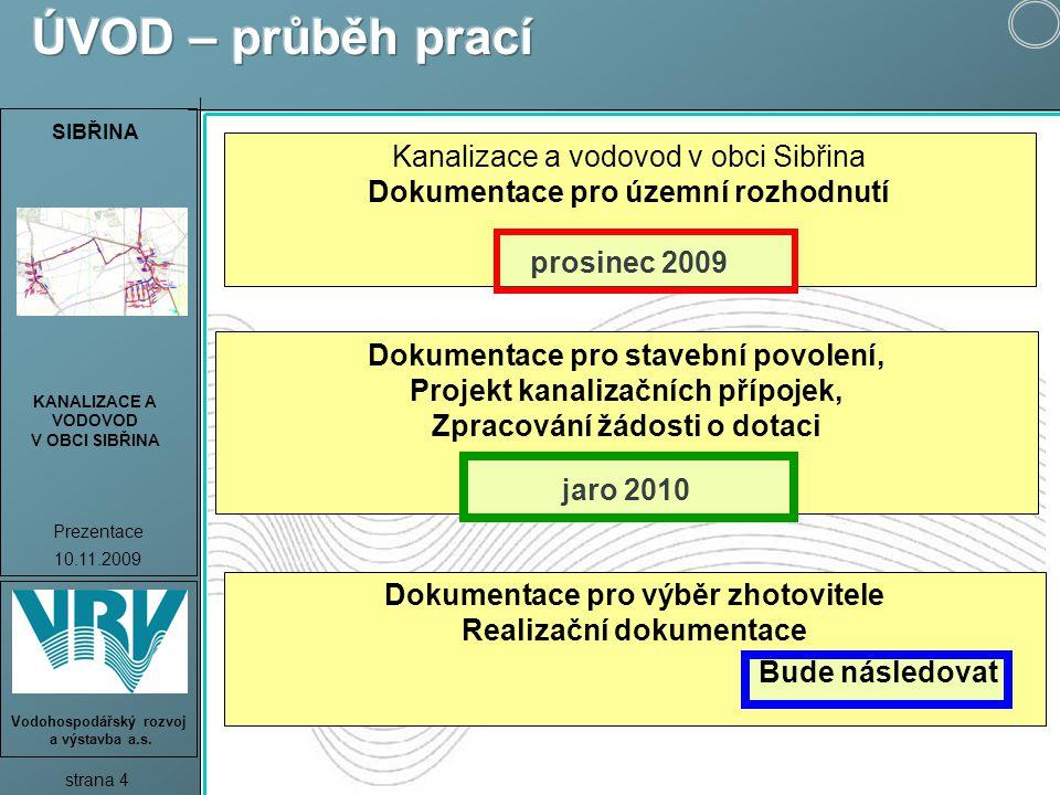 SIBŘINA KANALIZACE A VODOVOD V OBCI SIBŘINA Prezentace 10.11.2009 strana 5 Vodohospodářský rozvoj a výstavba a.s.