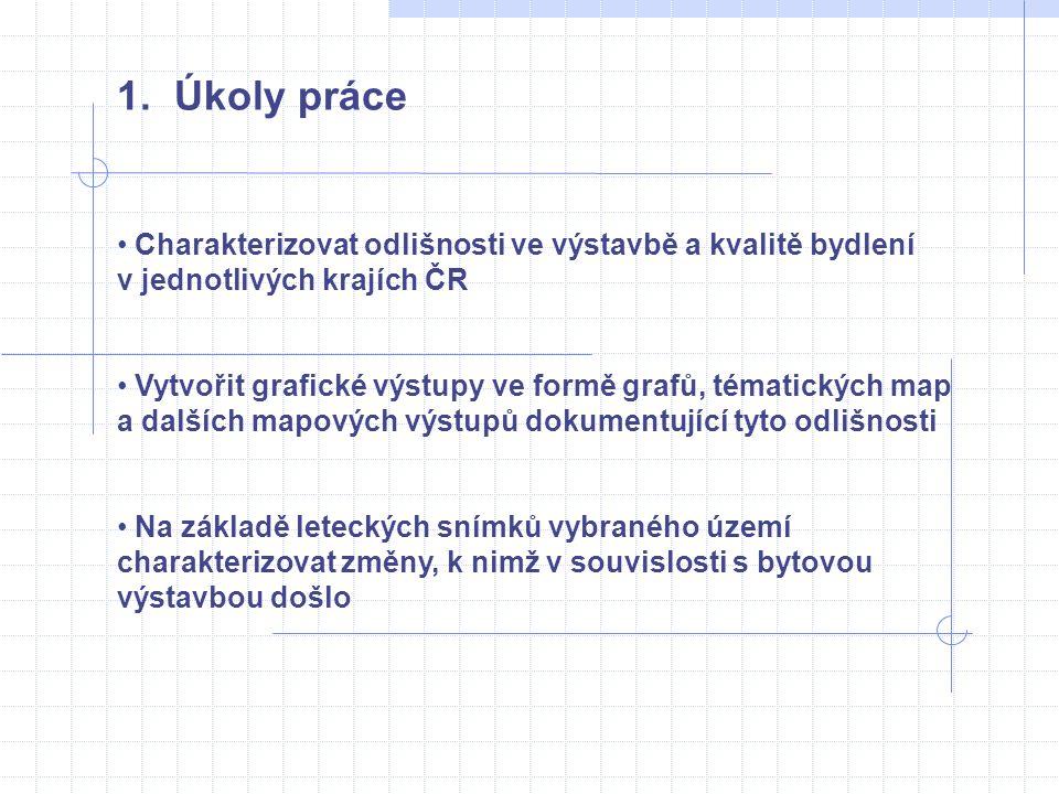 1. Úkoly práce • Charakterizovat odlišnosti ve výstavbě a kvalitě bydlení v jednotlivých krajích ČR • Vytvořit grafické výstupy ve formě grafů, témati